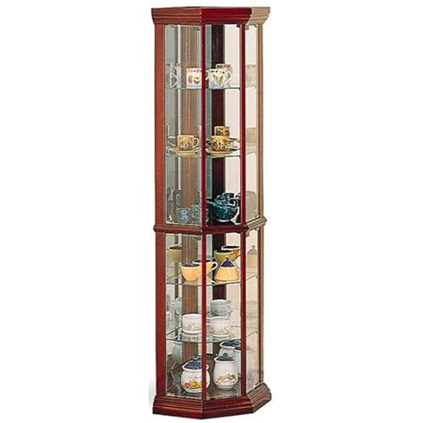 lighted corner curio cabinet cherry coaster furniture 3393 solid wood cherry glass corner