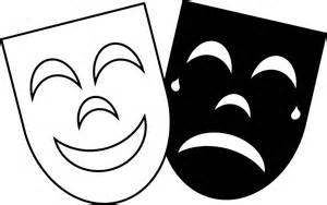 Theater Mask Outline by Comedy Tragedy Drama Faces Clipart Best