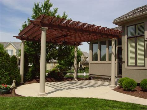 freestanding stained painted cedar pergola with