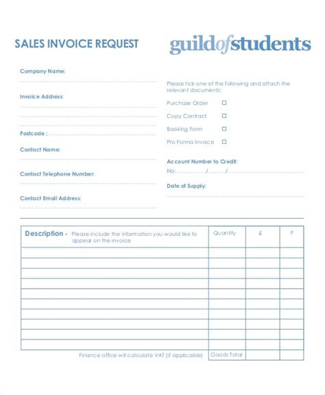9 Sle Invoice Request Forms Sle Templates Invoice Request Template