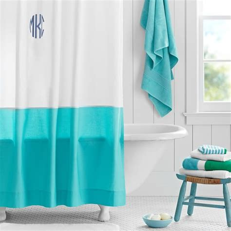 teenage bathroom shower curtains classic border shower curtain pool pbteen