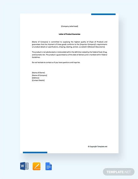 guarantee letter template word google docs