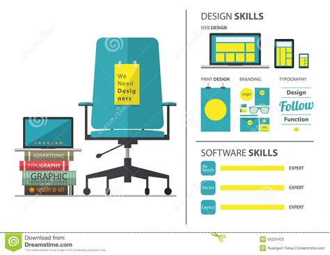 create a blueprint online flat design of job hiring for graphic designer resume and