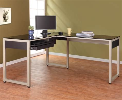 Glass Desk L Shape L Shaped Glass Top Computer Desk From Sears