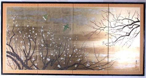 japanese room screen antique japanese painted silk room divider screen