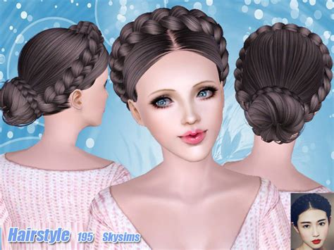 sims 4 bun braids skysims hair 195
