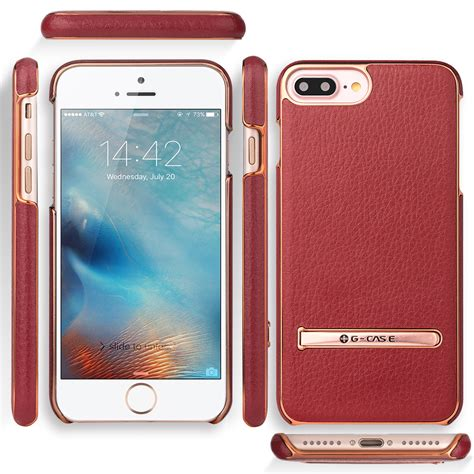 for apple iphone 7 7 plus leather slim metal kickstand cover glass screen ebay