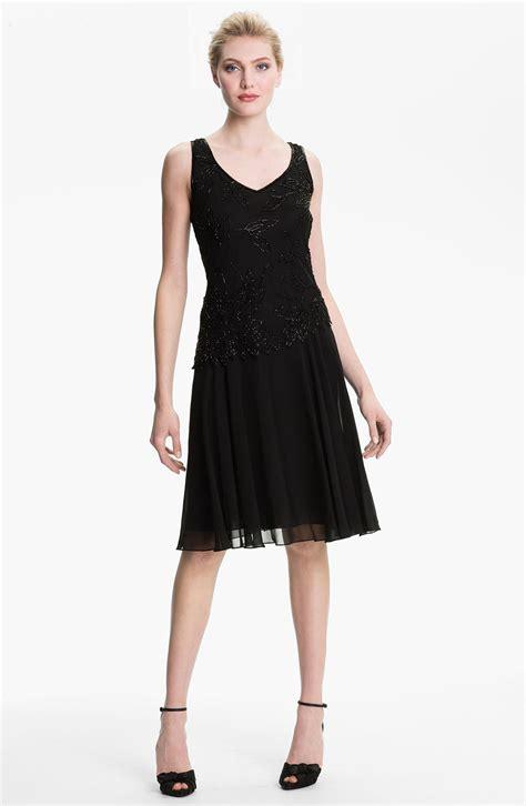 J Kara Beaded Bodice Drop Waist Chiffon Dress In Black