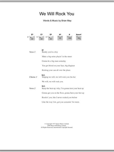 we will rock you testo we will rock you by five guitar chords lyrics guitar