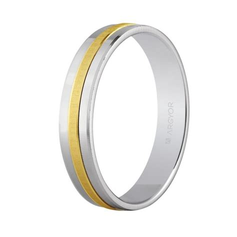 Wedding Ring Flat Design by Bicolour Wedding Ring Flat Design 4mm 5242255 Argyor