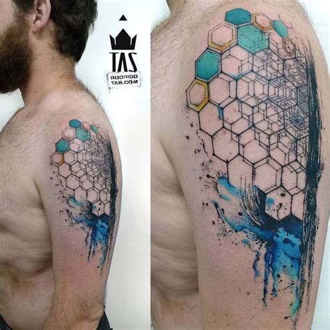 abstract tattoo ideas geometric hexagon arm best ideas designs