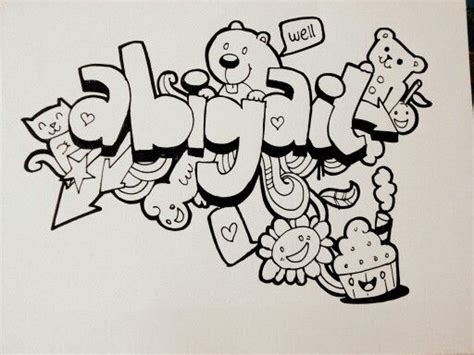 how to make doodle names step by step abigail doodle doodling abigail wellintencion