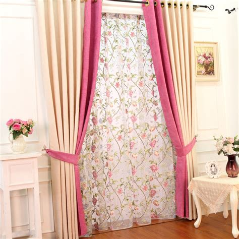 Graceful chenille living room pink and cream curtains