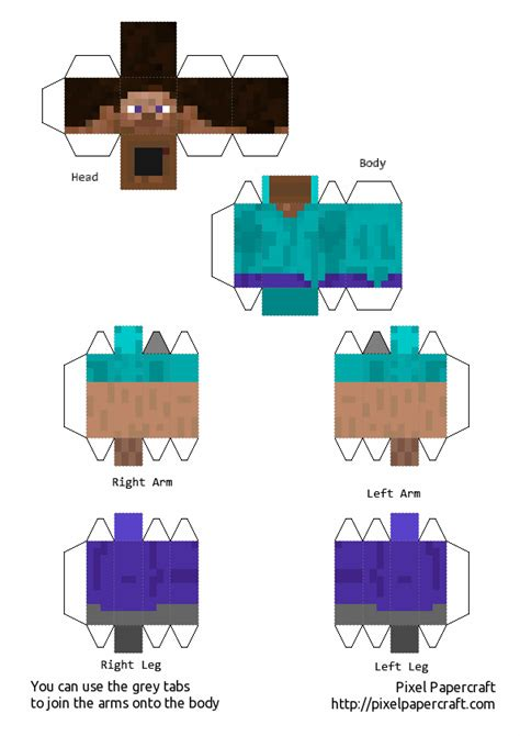 Minecraft Steve Papercraft Template - papercraft steve minecraft pocket edition