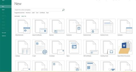 Screenshot Of New Built In Templates E G Import Word Documents In Publisher 2013 On A Network As Built Document Template