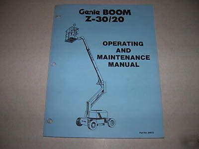 Genie Z30 20 Boom Operating And Maintenance Manual