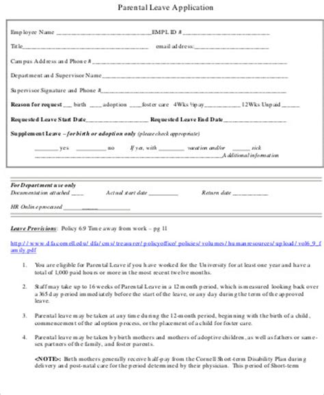 Leave Application Form Template by 6 Sle Leave Applications Sle Templates