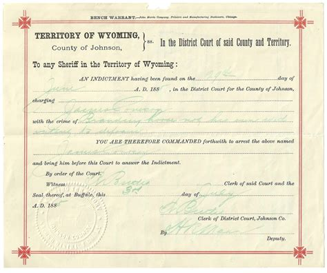 Wyoming Warrant Search Frank Canton Signed Wyoming Territory Warrant