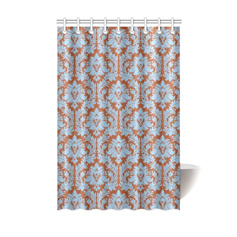 fall shower curtain set autumn fall color brick red blue damask shower curtain 48