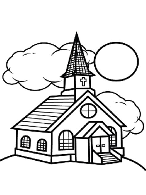 Church And Clouds Coloring Page Coloring Pages For Children S Church