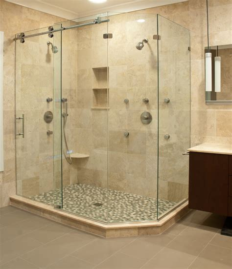 Matrix Series Frameless Slider Shower Door Enclosures By Bathroom Shower Glass Doors