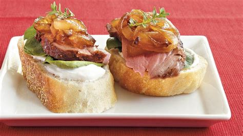beef canape recipes beef and caramelized canap 233 s recipe from pillsbury com