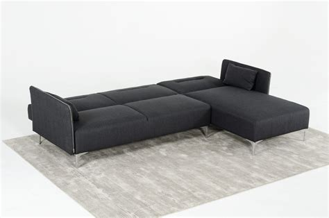 divani casa rixton mid century grey fabric sofa bed sectional