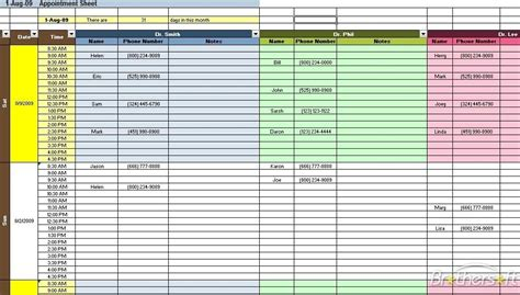 download free appointment scheduling spreadsheet