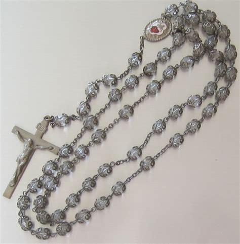 vintage rosary ornate vintage clear rosary