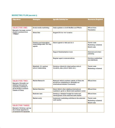 international marketing plan template 9 free sle