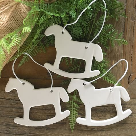 horse decorations for home set of 3 porcelain christmas decorations rocking horse
