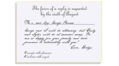 Wedding Invitation Reply Wording by Rsvp Etiquette Traditional Favor Accepts Regrets Placement
