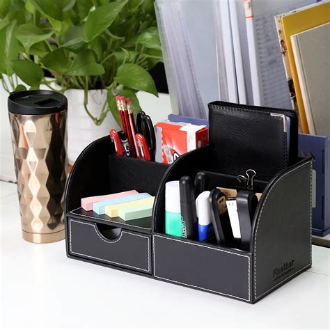 Home Office Desk Organizer New Multifunctional Pu Leather Mesh Desk Tidy Organizer Decro For Home Office