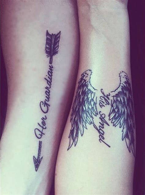 angel tattoo for couples me and my loves couple tattoo we created her guardian his