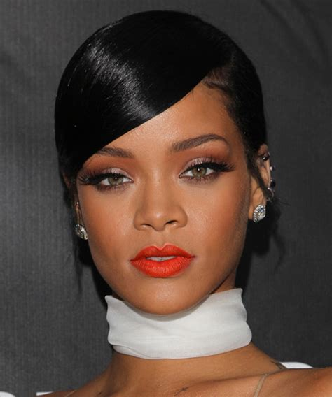 Rihanna Long Straight Formal Updo Hairstyle   Black