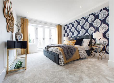20 bedroom designs with navy blue and gold accents home