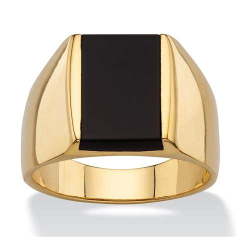 gold emerald cut black onyx mens gp ring size