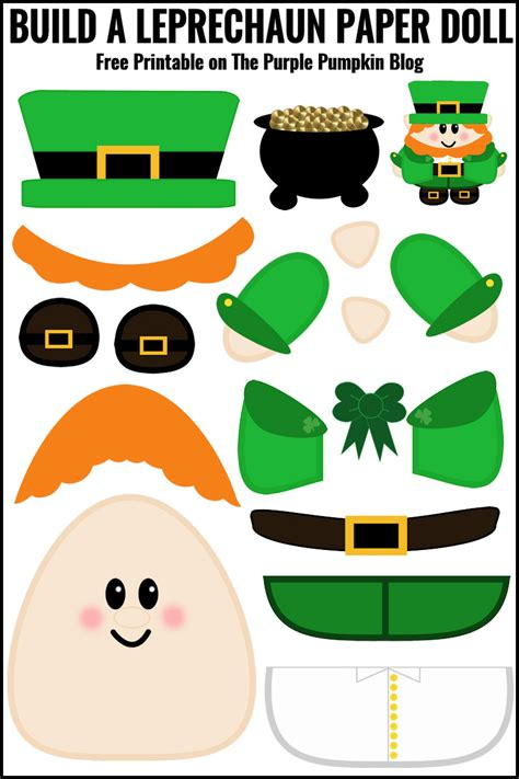 Wdw Christmas Decorations Free Printable Build A Leprechaun Paper Doll 187 The Purple