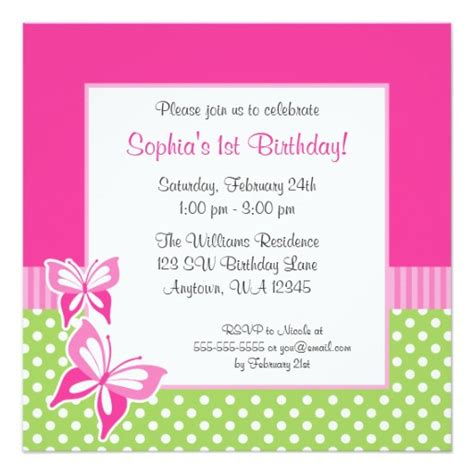 pink and green polka dot birthday invitations pink butterfly green polka dot 1st birthday photo square paper invitation card