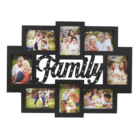 melancco 8 opening family collage picture frame with led - Family Collage Photo Frames