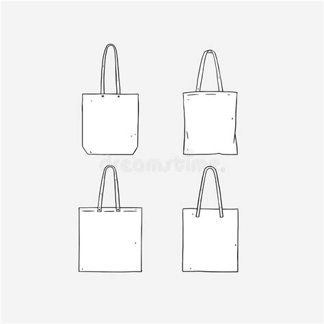 Hand Drawn Vector Illustration Of Blank White Tote Bag On White Background Template Fabric Bag Tote Bag Template