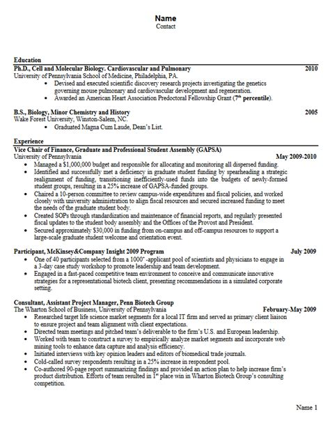 Upenn Resume by Career Services Sle Resumes For Graduate Students And