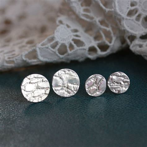 Handmade Stud Earrings - handmade silver lace stud earrings by jemima lumley