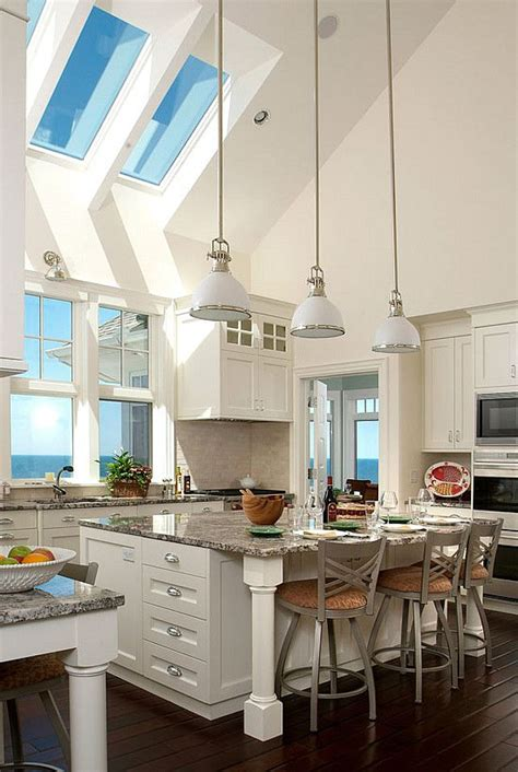 Kitchen Island Lighting For Vaulted Ceiling White Kitchen Cabinets Wood Floors Vaulted Ceilings With Skylights Granite Countertops