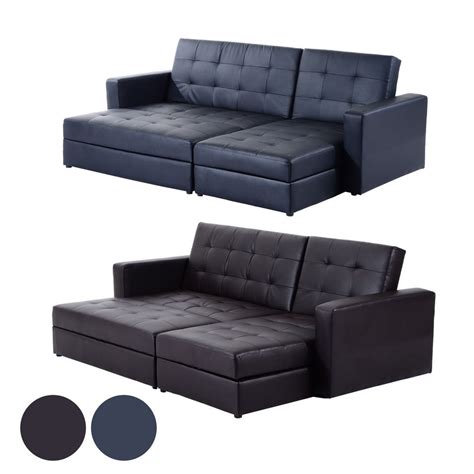 Sectional Sofa Bed With Storage Deluxe Faux Leather Corner Sofa Bed Storage Sofabed With Ottoman Brand New Ebay