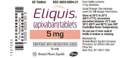 eliquis 25 mg film coated tablets summary of product dailymed eliquis apixaban tablet film coated eliquis