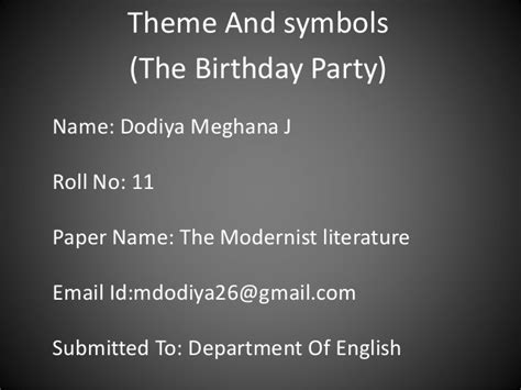 themes modernism literature theme and symbols the birthday party