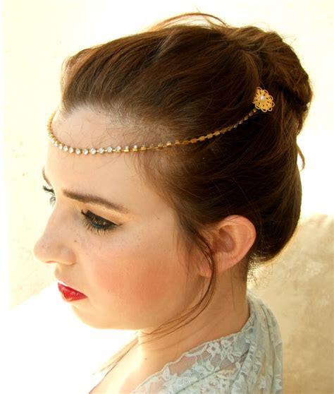 Headpiece Headband Chain gold headband bridal headpiece forehead chain