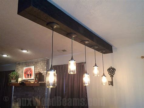 Hanging Light Fixtures Faux Wood Workshop False Ceiling Beams