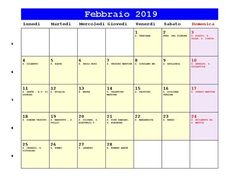 Calendario 2019 Febbraio Calendario Febbraio 2019 Pdf Candelora Festa Degli